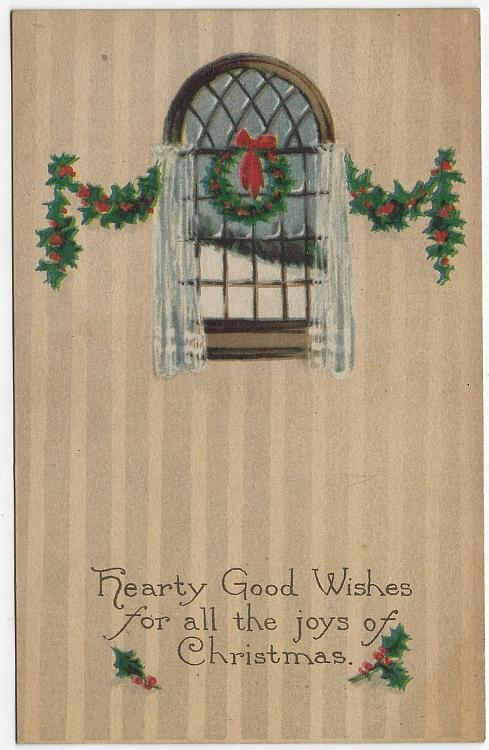 Vintage Christmas Postcard with Snowy Window, Wreath Garland Hearty Wishes