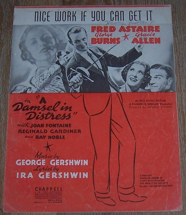 Nice Work If You Can Get It Fred Astaire Joan Fontaine 1937 Movie Sheet Music