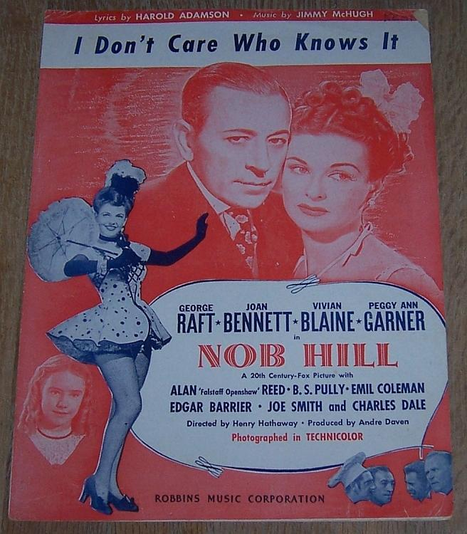 I Don't Care Who Knows It George Raft Joan Bennett 1944 Movie Sheet Music