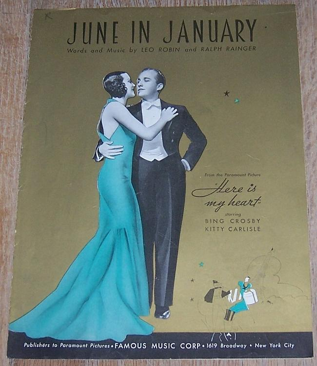 June in January Here is My Heart Bing Crosby Kitty Carlisle Movie Sheet Music