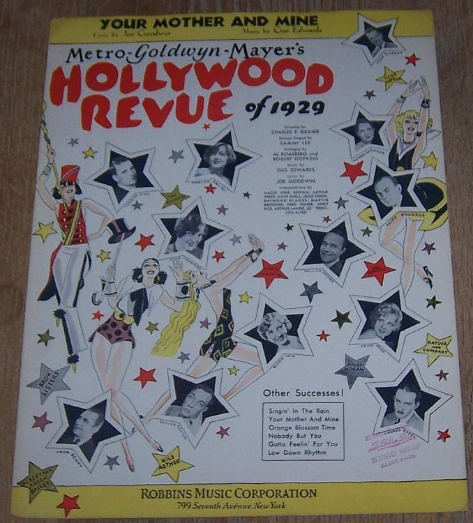 Your Mother and Mine Hollywood Revue of 1929 All Star Movie Sheet Music