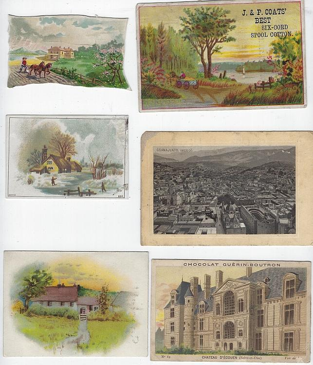 Lot of Six Scrap Victorian Trade Cards Featuring Buildings Scrapbooking Crafts