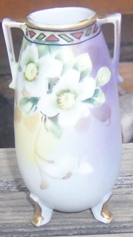 Nippon Three Footed Small Vase with Hand Painted Flowers Gold Trim