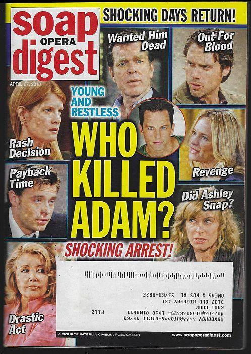 Soap Opera Digest Magazine April 27, 2010 Young and Restless Who Killed Adam
