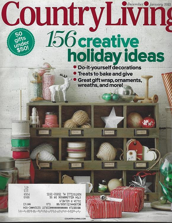 Country Living Magazine December/January 2013 Holiday Ideas/Blue Christmas/Style
