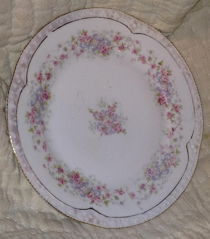 Bavaria Small Plate with Pink Roses, Gold Trim, Pink Edge Lattice Vintage China