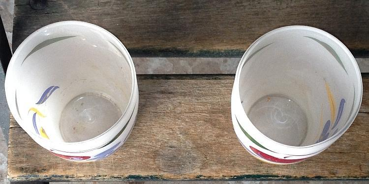 Frosted Tumblers With Painted Fruit Set of Two Vintage Drinkware Glasses