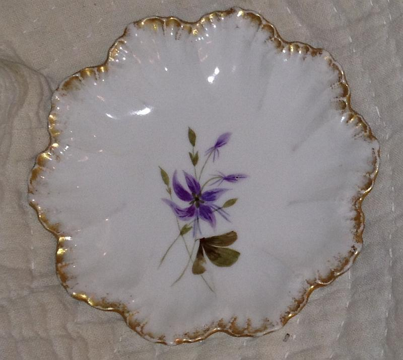 Limoges Small Plate with Purple Flowers and Gold Spray at Edge Vintage China