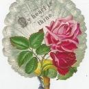 Victorian Die Cut Feather Fan Card with Pink Roses My Heart Is Thine