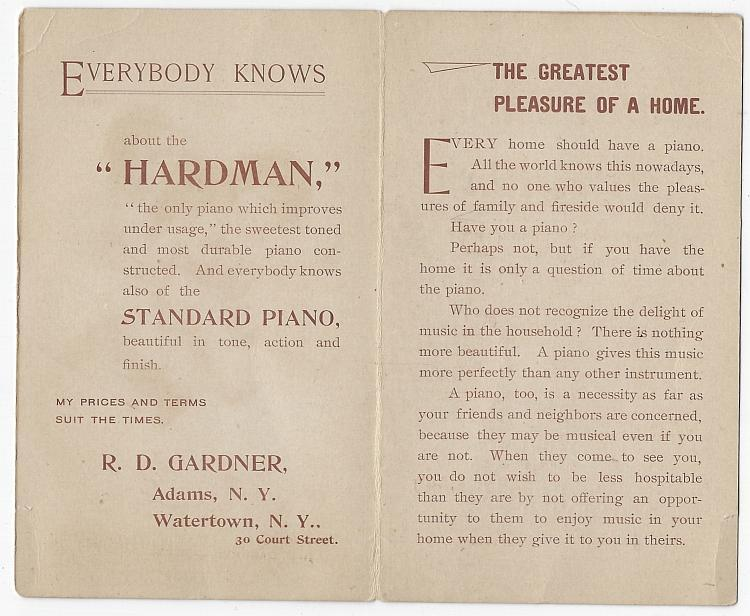 Hardman Piano R.D. Gardner New York Children Playing Instruments Victorian Trade Card Folder