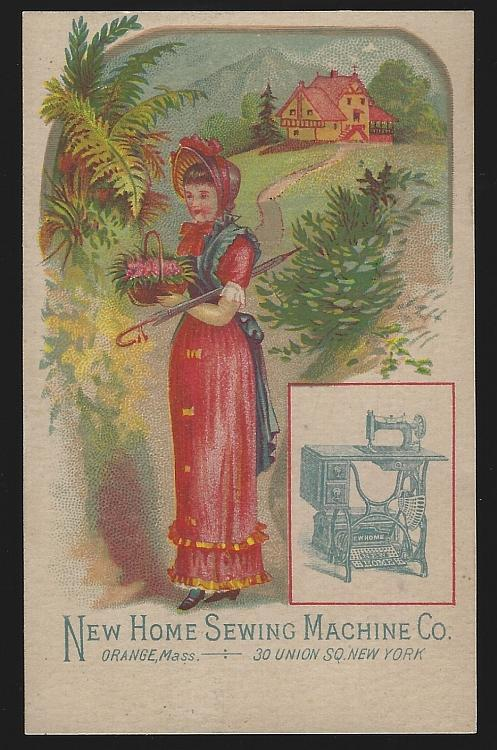 New Home Sewing Machine with Lovely Lady Walking Outside Victorian Trade Card