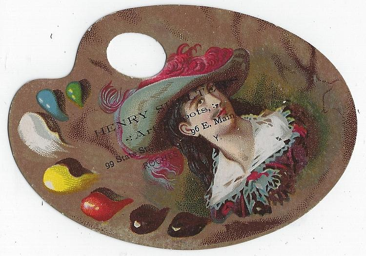 Henry Shelter with 18th Century Man Victorian Die Cut Artist Palette Trade Card