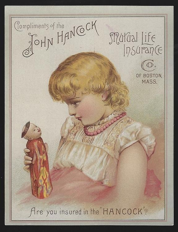 John Hancock Mutual Life Insurance Little Girl Holding an Oriental Doll Victorian Trade Card