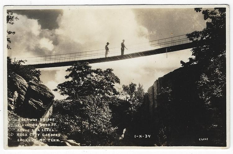 Rockway Bridge, Rock City Gardens, Lookout Moutain, Tennessee Real Photo PC