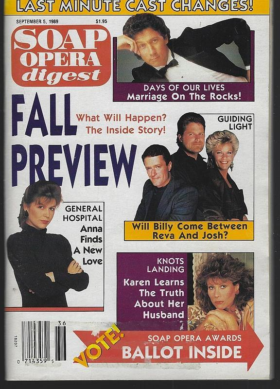 Soap Opera Digest September 5, 1989 Fall Preview Cover