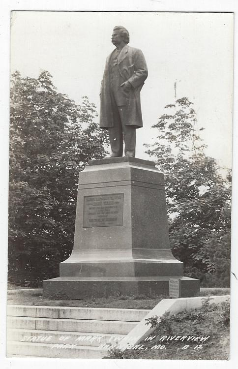 Statue of Mark Twain in Riverview Park, Hannibal, Missouri Real Photo Postcard