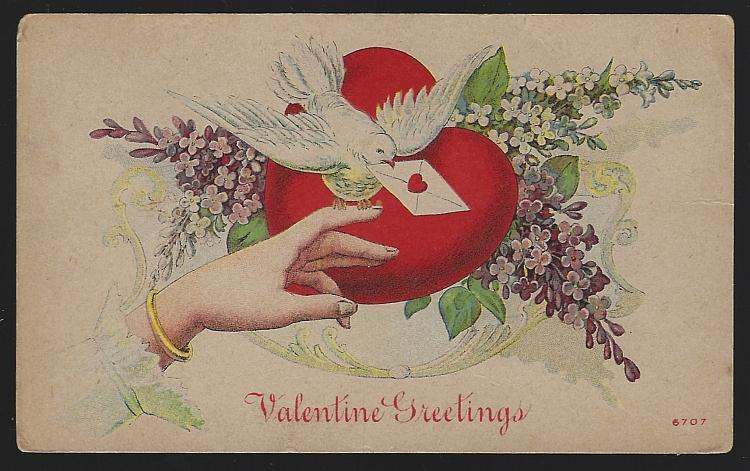 Valentine Greetings with Hand, Dove, Red Heart and Flowers 1912 Vintage Postcard