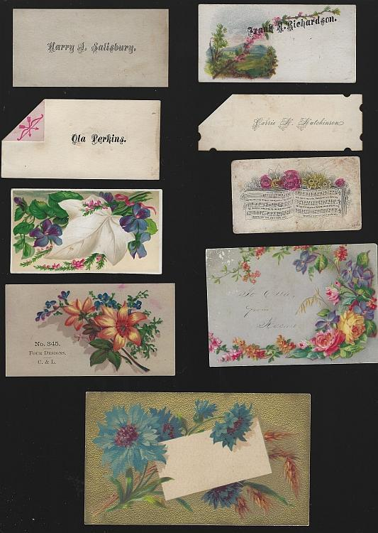Lot of Nine Scrap Victorian Trade Cards and Calling Cards Flowers Scrapbooking