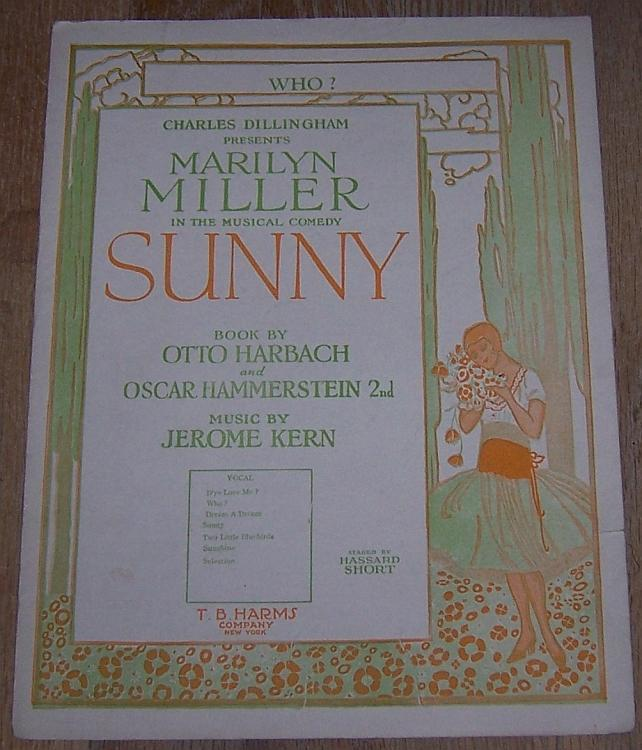 Who Musical Comedy Sunny starring Marilyn Miller 1925 Theater Sheet Music