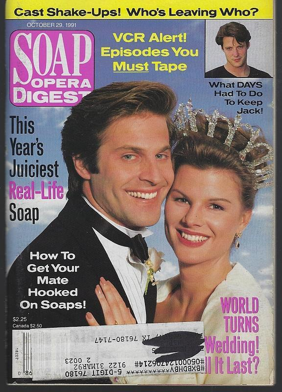 Soap Opera Digest October 29, 1991 Holden and Lily ATWT Wedding on the Cover