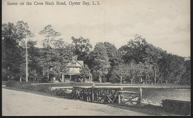 Unused Postcard Scene on the Cove Neck Road, Oyster Bay, Long Island, New York