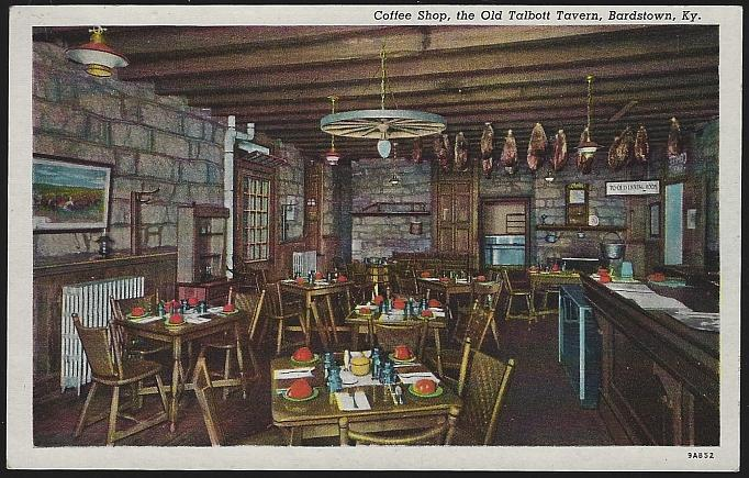 Coffee Shop, the Old Talbott Tavern, Bardstown, Kentucky Unused Vintage Postcard