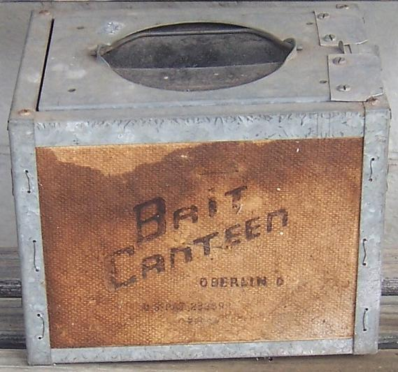 Vintage Fishing Bait Canteen Oberlin Ohio Screen Ends Metal and Wood with Rubber Top