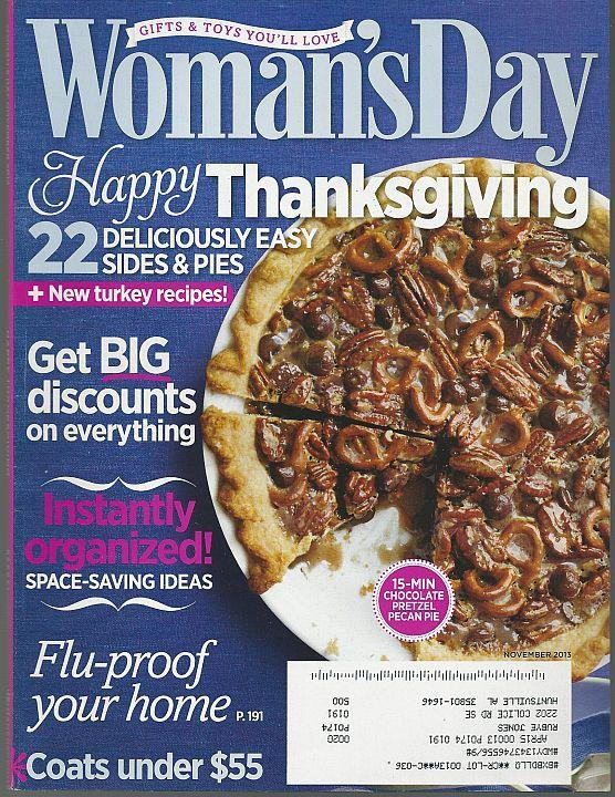 Woman's Day Magazine November 2013 Thanksgiving/Caregiving/Side Dishes/Pies