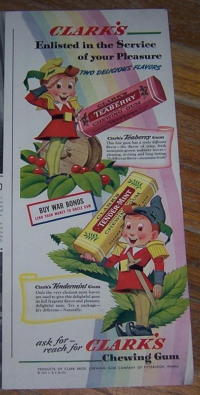 1942 Life Magazine Color World War II Advertisement for Clark's Chewing Gum