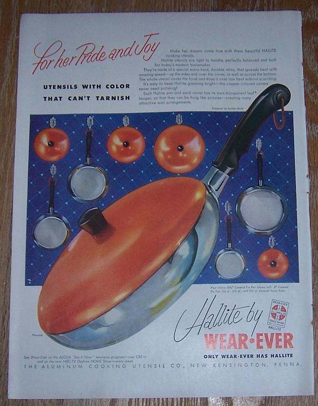 1954 Hallite by Wear-Ever Life Magazine Color Advertisement Lurella Guild