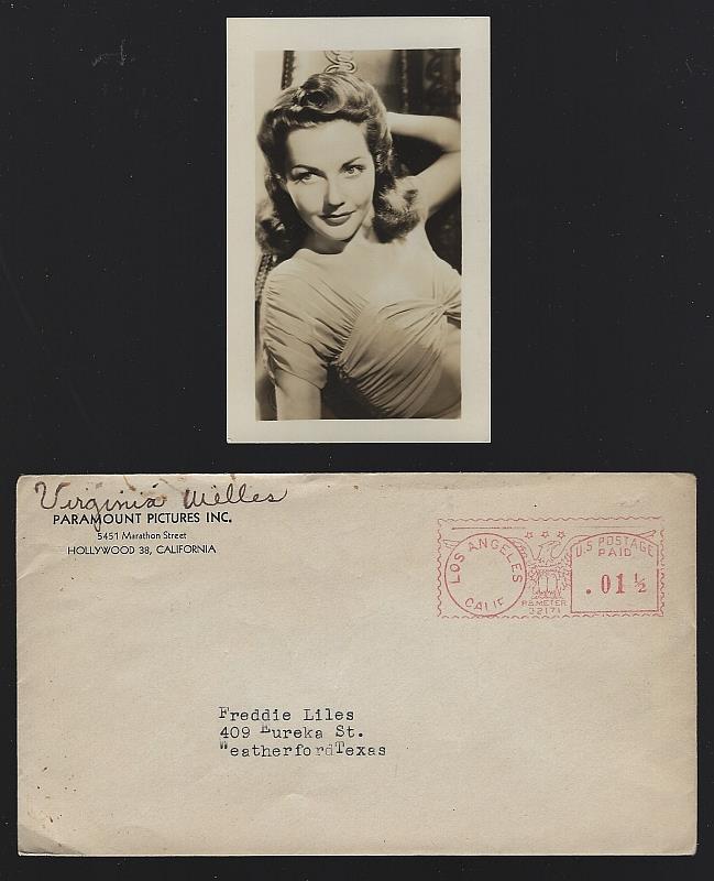 Vintage Original Studio Photograph of Virginia Welles with Original Envelope