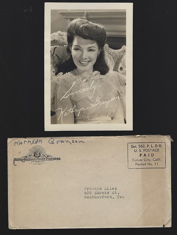 Vintage Original Studio Signed Photograph of Kathryn Grayson with Envelope