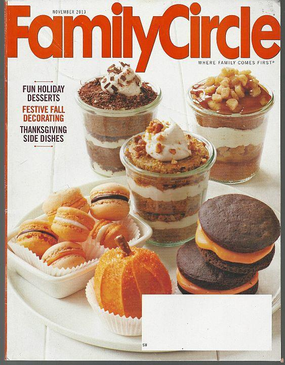 Family Circle Magazine November 2013 Fun Holiday Desserts on Cover/Thanksgiving