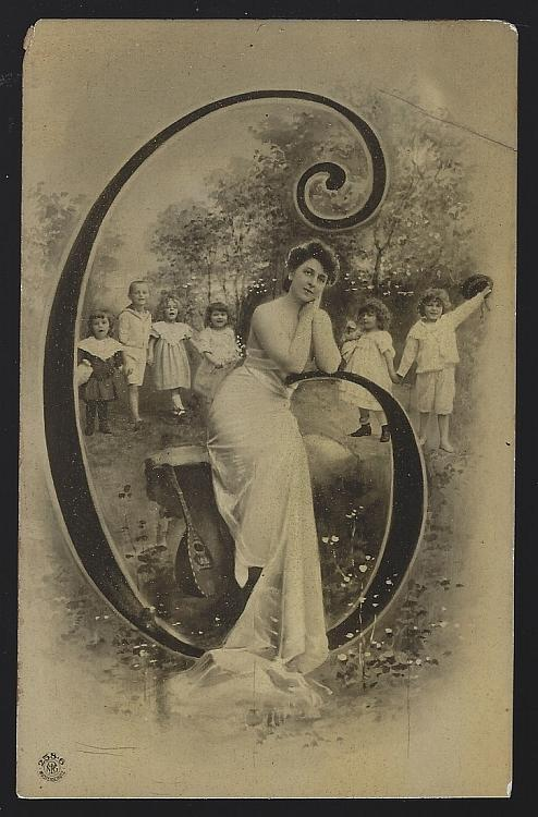 Lovely Lady Resting on Initial C Surrounded By Children Vintage Artist Postcard