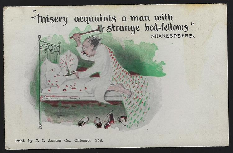 Shakespeare Play Quote Misery Acquaints a Man Vintage Undivided Comic Postcard