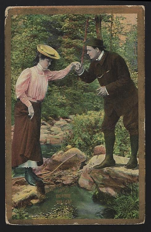 Hiking Couple, Always Look Before You Leap Vintage Postcard
