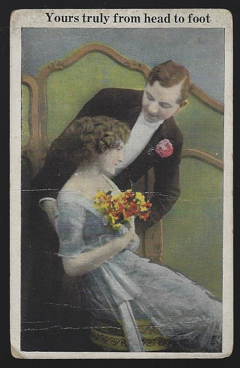 Victorian Courting Couple, Yours Truly from Head to Foot Vintage Postcard