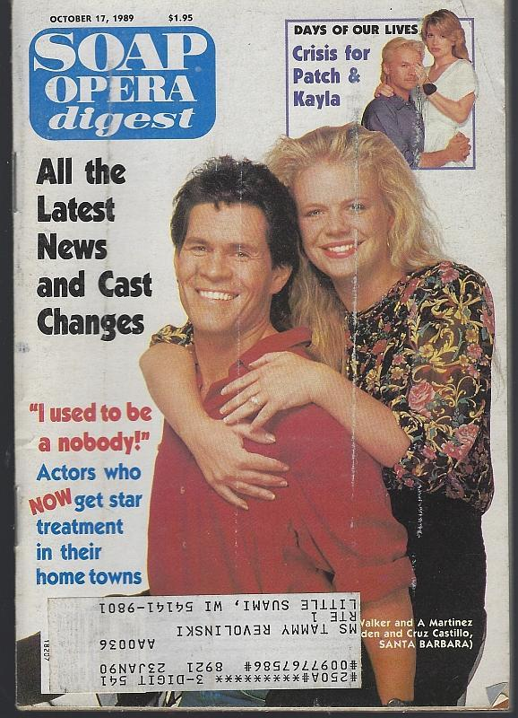 Soap Opera Digest Magazine October 17, 1989 Eden and Cruz Santa Barbara Cover