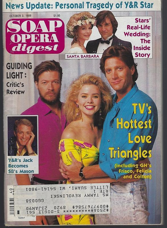 Soap Opera Digest Magazine October 3, 1989  GH's Frisco, Felicia and Colton