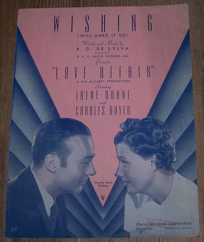 Wishing Will Make So From Love Affair 1939 Sheet Music