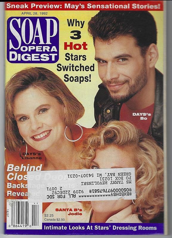 Soap Opera Digest April 28, 1992 Why 3 Stars Left/Eileen Davidson/Elaine Miles
