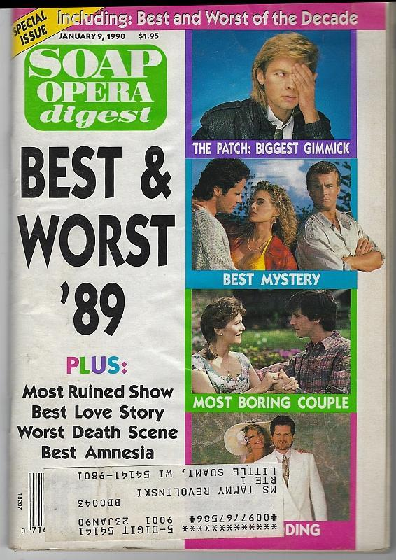 Soap Opera Digest Magazine January 9, 1990 The Best and Worst of 1989 on Cover