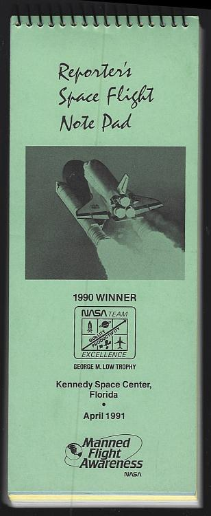 Reporter's Space Flight Note Pad Kennedy Space Center Florida 1991 Manned Flight