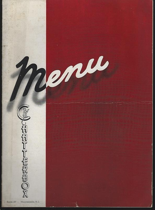 Vintage Menu Chatterbox Restaurant Route 29 Mountainside New Jersey Whiskey Ad
