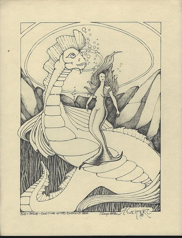 Signed Allen Weipert Fantasy Print with Mermaid and Sea Monster 1989 Artwork