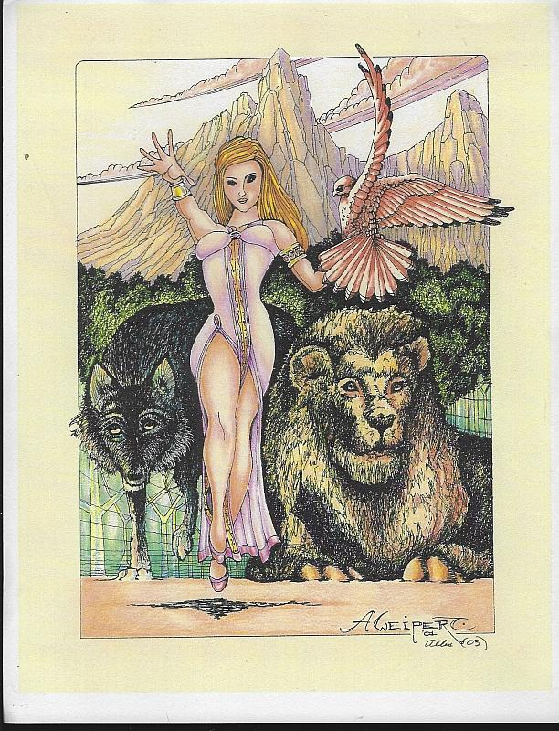 Signed Allen Weipert Fantasy Color Print Lady with Wolf, Lion, and Hawk 2003