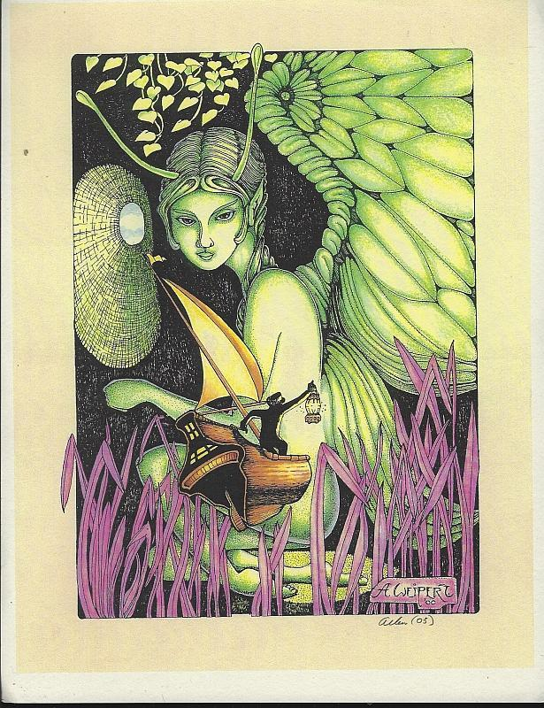 Allen Weipert Fantasy Print with Moth Lady with Sailor Holding Lantern Signed