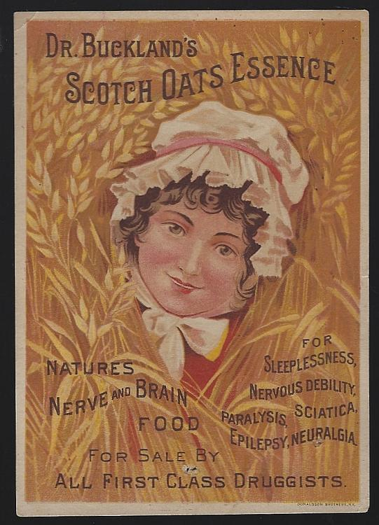 Victorian Trade Card for Dr. Buckland's Scotch Oats Essence with Lovely Lady