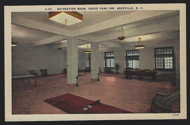 Vintage Unused Postcard Recreation Room Grove Park Inn Asheville North Carolina