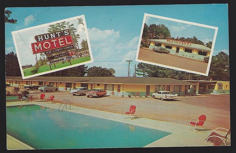 Vintage Unused Postcard Hunt's Motel on US 301, Rocky Mount, North Carolina